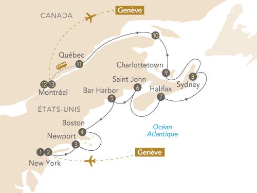 Itinéraire de Nouvelle-Angleterre, Québec (Départ Genève)