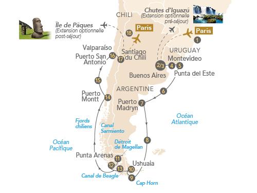 Itinéraire de Patagonie et Terre de Feu