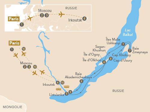 Itinéraire de Légendaire lac Baïkal, la perle de la Sibérie