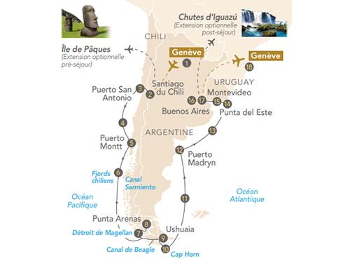 Itinéraire de Patagonie et Terres australes, avec Yves Coppens (départ Genève)
