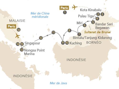 Itinéraire de Bornéo, de Kota Kinabalu à Singapour, beautés sauvages d'Asie