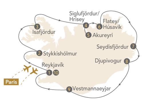 Itinéraire de La croisière Islande, terre de glace et de feu