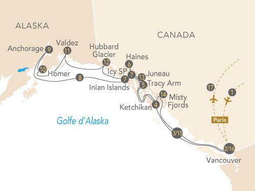 Itinéraire de La croisière Alaska, la dernière frontière