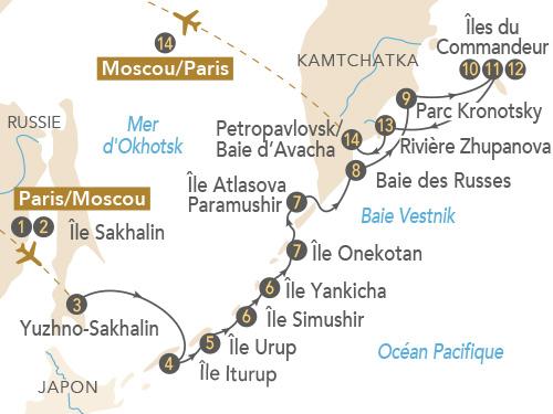 Itinéraire de Ceinture de feu, îles Kouriles et Kamtchatka
