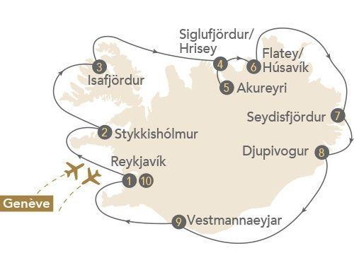 Itinéraire de Islande, terre de feu et de glace, au départ de Genève