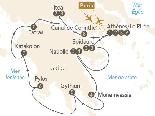 Itinéraire de Croisière Péloponnèse, à la découverte de la Grèce antique et byzantine