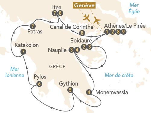Itinéraire de Péloponnèse, à la découverte de la Grèce antique et byzantine, au départ de Genève
