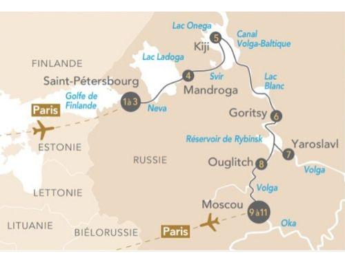 Itinéraire de Regards sur la Russie, de Saint-Pétersbourg à Moscou avec Paris Match