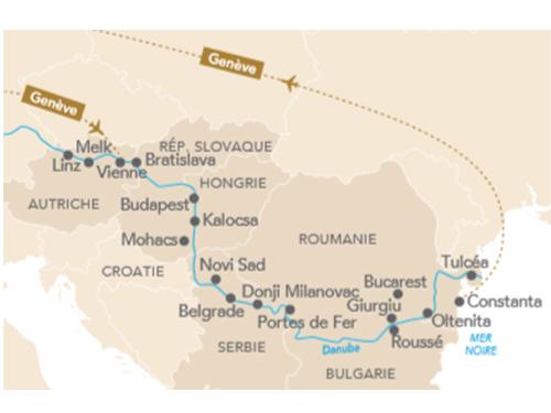 Itinéraire de Musicalia Danube au départ de Genève