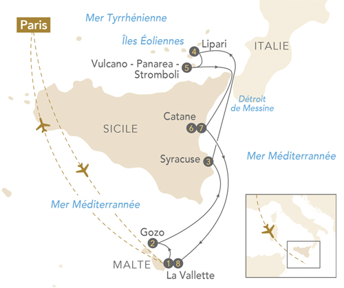 Itinéraire de Au fil de l'art en Méditerranée : Malte - Sicile - Îles Éoliennes