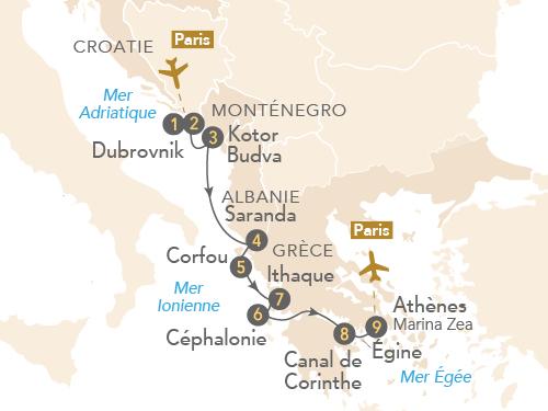 Itinéraire de Trésors d'Adriatique et de Grèce