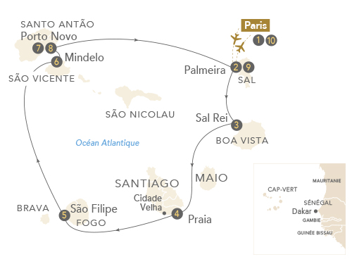Itinéraire de L'archipel du Cap-Vert, cinq îles de rêve à la croisée des cultures