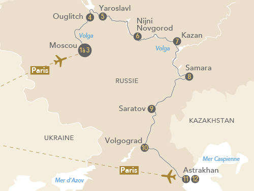 Itinéraire de Au fil de la Volga, de Moscou à Astrakhan