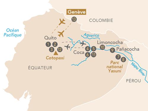 Itinéraire de Amazonie, au cœur de la forêt tropicale au départ de Genève