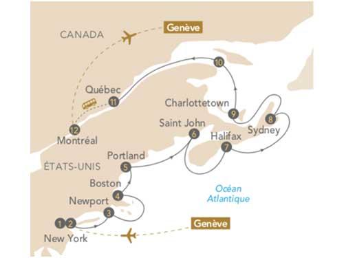 Itinéraire de Nouvelle-Angleterre, Québec, au départ de Genève