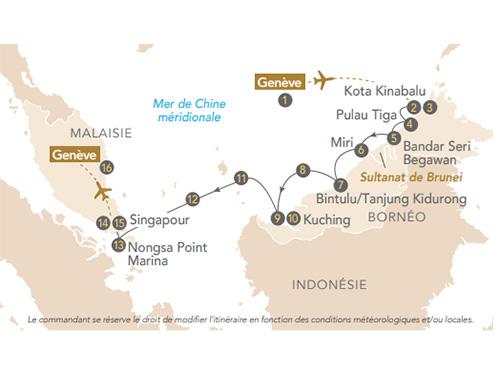 Itinéraire de Bornéo, de Kota Kinabalu à Singapour, au départ de Génève