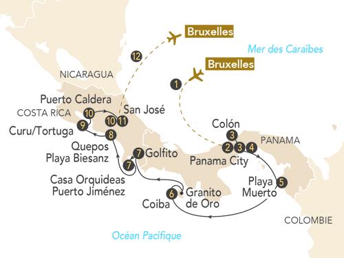 Itinéraire de Panama, Costa Rica  au départ de Bruxelles