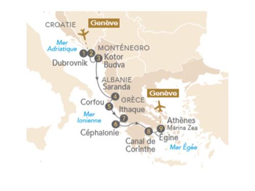 Itinéraire de Trésors d'Adriatique et de Grèce, au départ de Genève