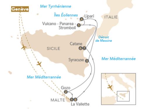Itinéraire de Au fil de l'art en Méditerranée : Malte - Sicile - Îles Éoliennes, au départ de Genève