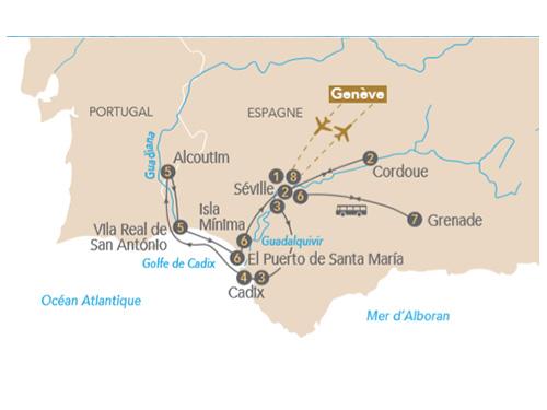 Itinéraire de Au fil de l'art sur le Guadalquivir, au départ de Genève