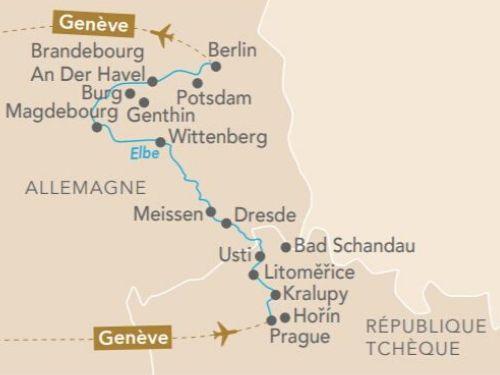 Itinéraire de Musicale sur l'Elbe (départ Genève)