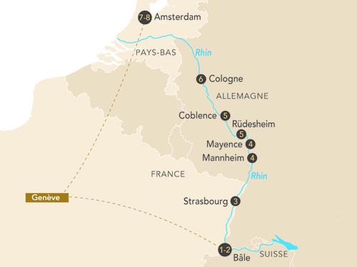 Itinéraire de La croisière Rustica départ Genève