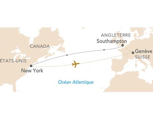 Itinéraire de La croisière Queen Mary 2 au départ de Genève