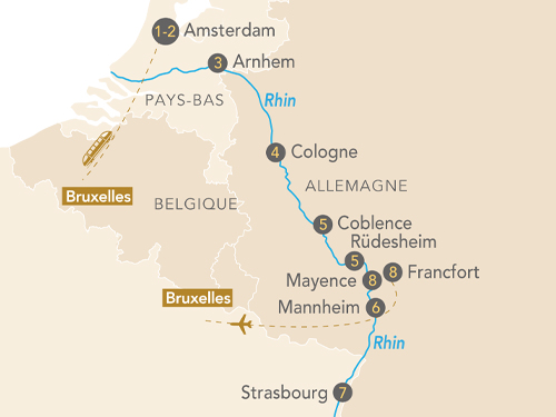 Itinéraire de Les merveilles du Rhin départ Bruxelles
