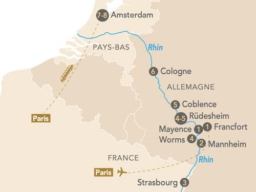 Itinéraire de La croisière de Gaulle sur le Rhin