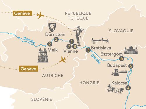 Itinéraire de Merveilles du Danube au départ de Genève