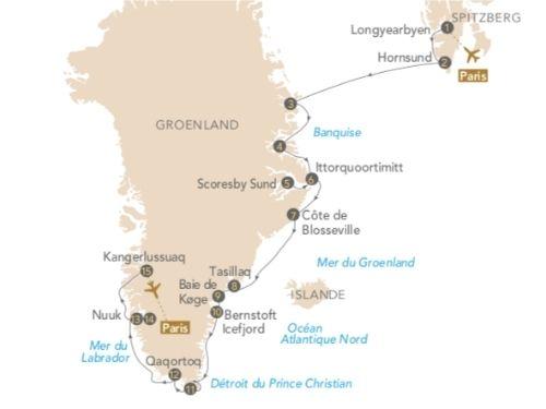 Itinéraire de Pics et glaciers du Groenland