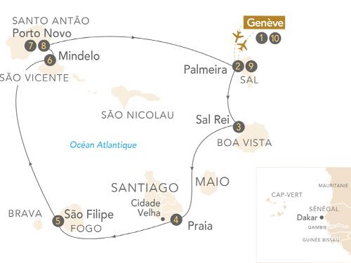 Itinéraire de L'archipel du Cap-Vert, cinq îles de rêve à la croisée des cultures au départ de Genève