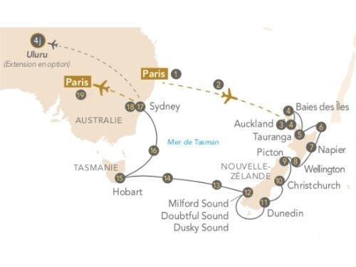 Itinéraire de Australie, Nouvelle-Zélande