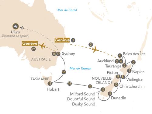 Itinéraire de Australie, Nouvelle-Zélande au départ de Genève