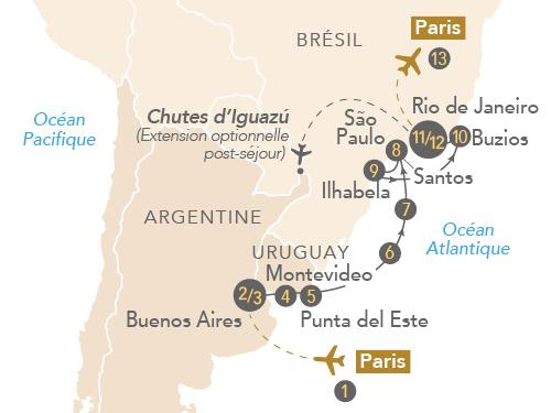 """Itinéraire de Croisière """"Couleurs latines : Argentine-Uruguay-Brésil"""""""