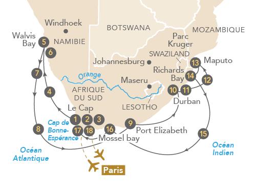 Itinéraire de Envoûtante Afrique du Sud