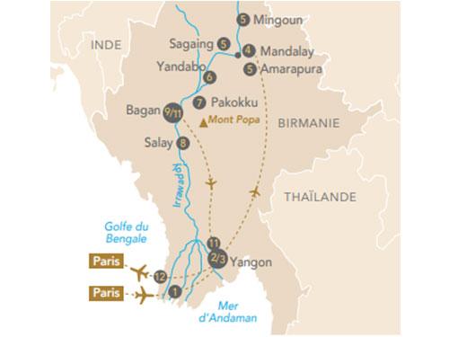 Itinéraire de Splendeurs de Birmanie, rencontres en terre d'or sur l'Irrawaddy