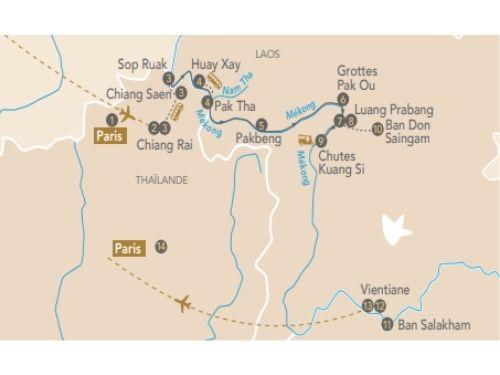 Itinéraire de Les joyaux du Laos