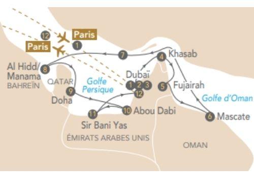 Itinéraire de Les joyaux des Émirats, le rêve des mille et une nuits