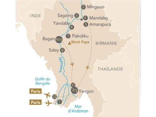 Itinéraire de Regard sur la Birmanie avec Échappées Belles