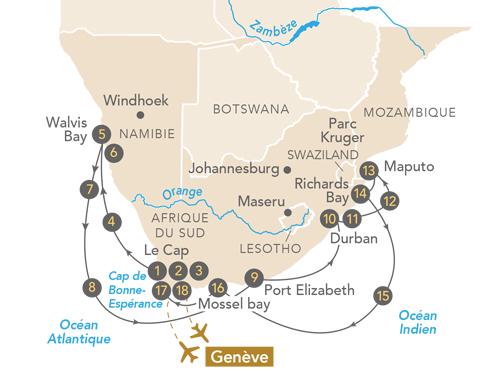 Itinéraire de Envoûtante Afrique du Sud, au départ de Genève