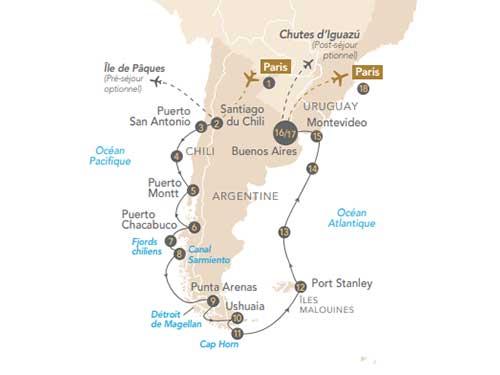 Itinéraire de Croisière Patagonie et Terre de Feu