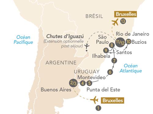 """Itinéraire de Croisière """"Couleurs latines : Argentine-Uruguay-Brésil"""" au départ de Bruxelles"""