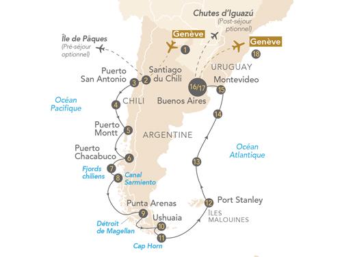 Itinéraire de Croisière Patagonie et Terre de Feu au départ de Genève