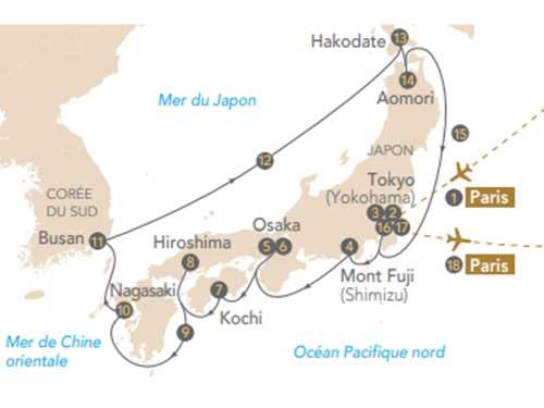 Itinéraire de Croisière Japon, archipel aux trésors