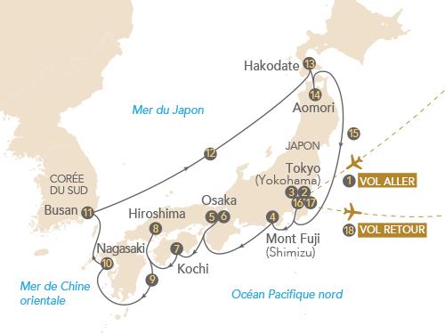 Itinéraire de Croisière Japon, archipel aux trésors au départ de Genève