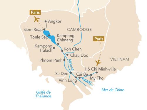 Itinéraire de Au fil du Mékong avec Géo