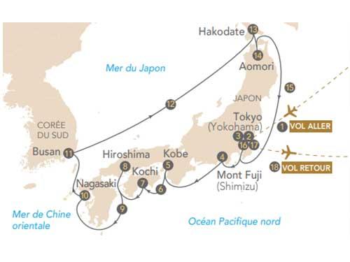 Itinéraire de Croisière Japon, archipel aux mille traditions au départ de Genève