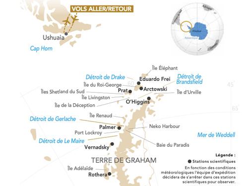 Itinéraire de Antarctique, le paradis blanc départ Genève