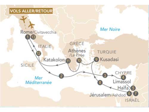 Itinéraire de Merveilles des civilisations en Méditerranée au départ de Genève